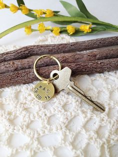 COUPLE'S ANNIVERSARY Hand Stamped Metal Brass Key Ring by miguez (Accessories, Keychain, Metal, gift, custom, charm, name, personalized, key chain, key, chain, home, couple, newlywed, anniversary)