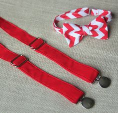 Red Chevron Bow Tie and Solid Red Suspender set ( Men, boys, baby, toddler, infant ) Bow Tie, Bowtie, Suspenders, Suspender Set