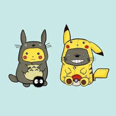 Studio Ghibli and Pokemon cross over, Totoro and Pikachu Pikachu Pikachu, Pikachu Suit, Hayao Miyazaki, Manga Anime, Anime Art, Chibi, Wallpapers Geek, Blood Lad, Photo Pokémon