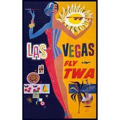 BIG SALE - Las Vegas Showgirl Travel Poster - Large 18x24 inch Reg Price 24.99 - Vintage Vegas Tourism Print by graficaitalia on Etsy