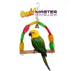 Multifunction Birds Stop Bar Wood Bird Perches Bird Cages Accessories Natural loofah Creative Bird Toys