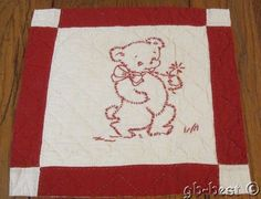 Country Home c 1910-20s Turkey RED Kitten Teddy Bear Cub Antique QUILT pc frame