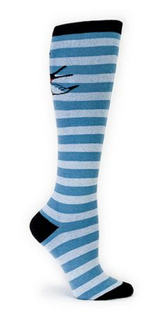 Striped Sparrow Knee Socks:These are wonderful basic knee socks in light blue and blue stripes with a pretty sparrow on the back of your calf, wings spread wide. So fly! 75percent cotton, 20percent polyester, 5percent spandex. Approximately fits women's shoe 5-10. $10.00