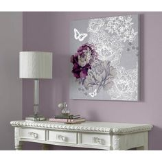 Minus the big white butterfly, I LOVE this! Monsoon - purple and silver flowers and butterflies canvas art | Graham and Brown