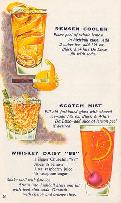 Three tasty 1960s cocktails from Fleischman's Mixer's Manual. #vintage #food #drinks #recipes #1960s
