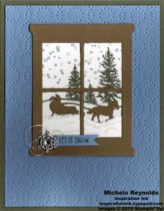 Handmade Christmas card using Stampin' Up! products - Happy Scenes Photopolymer Stamp Set, Elegant Dots Embossing Folder, Hearth & Home Thinlits, Winter Wonderland Embellishments, Metallic Thread, Dazzling Diamonds Stampin' Glitter, and Sleigh Ride Edgelits. By Michele Reynolds, Inspiration Ink. #stampinup #inspirationink #happyscenes #snowscene #christmas #sleigh