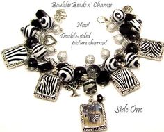 Zebra Print Charm Bracelet Jewelry Safari by baublesbeadsncharms, $39.88