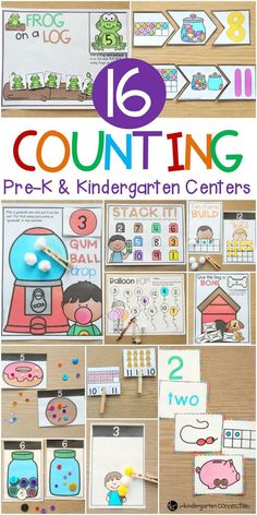 Practice counting from 0-20 with these 16 different counting activities and centers created specifically for Pre-K and Kindergarten students! #numbers #counting #centers #preK #preschool #kindergarten #printandplay