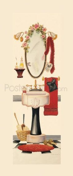 Girly Bath Art Print Poster by Lisa Danielle Online On Sale at Wall Art Store – Posters-Print.com