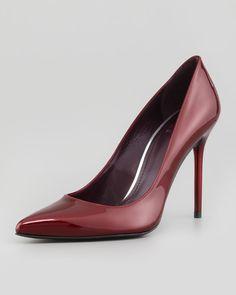 Stuart Weitzman Nouveau Patent Leather Pump Dark Red in Red (DARK RED) | Lyst
