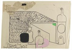 Ле Корбюзье / Le Corbusier, Still life with bottles and reclining female 1964