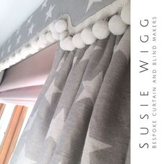 9d7fb5a1745 Sarah Hardaker star linen curtains Swedish Grey with shaped upholstered  pelmet and pom pom trimming.