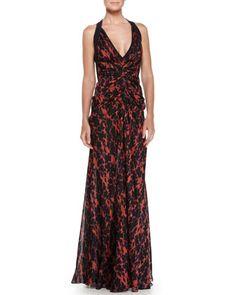 Ikat-Print Ruched Chiffon Gown by J. Mendel at Bergdorf Goodman.