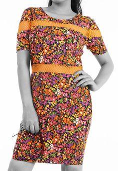 Floral Print Cotton Dress with Cotton Net