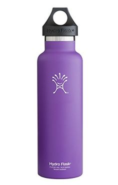 Hydro Flask 24 oz Vacuum Insulated Stainless Steel Water Bottle, Standard Mouth w/Loop Cap, Acai Purple * Click image for more details.
