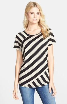 kensie Contrast Back Stripe Front Tee available at #Nordstrom