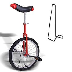 "20"" Red Unicycle W/ Stand Wheel Skidproof Tire Bike Unicycle Adjustable Cycling - http://www.bicyclestoredirect.com/20-red-unicycle-w-stand-wheel-skidproof-tire-bike-unicycle-adjustable-cycling/"