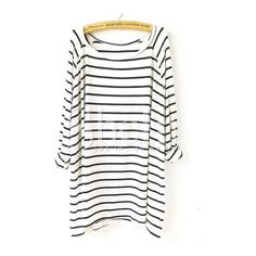 SheIn(sheinside) White Black Striped Loose T-Shirt (€11) ❤ liked on Polyvore featuring tops, t-shirts, white, long sleeve tee, black and white t shirt, polyester t shirts, black and white tops and striped t shirt