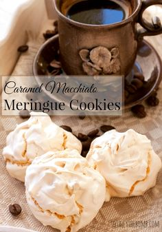 Caramel macchiato meringue cookies are the perfect treat for days where you are craving the coffee house want to avoid the stink of pumpkin spice. Pavlova, Cake Candy, Strawberry Cheesecake Bites, Cooking Challenge, Baked Strawberries, Dark Chocolate Cakes, White Chocolate, Gateaux Cake, Meringue Cookies