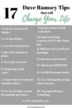 Are you looking to get out of debt on a low income? Wanting to find financial freedom?! Here are 17 tips from Dave Ramsey that will change your life. Everything from the 7 baby steps, to the debt snowball, to budgeting, the envelope system, student loans and more! Use this free Dave Ramsey printable and click here to read our post at meadmoney.com to get started! #debtfree #debtfreeliving #financiallyfree