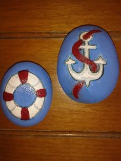 Anchor & Life Preserver Painted Stones..