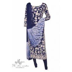 Elegant navy blue stitched suit adorn in kashmiri aari work