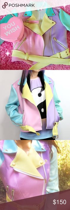 Sugarpills Dolls Kill Pastel Moto Jacket Probably the last in existence. Flawless condition, NWOT. Fits an XS or Small. No trades. Price is firm. Sold out on dolls kill. Dolls Kill Jackets & Coats