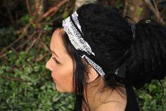 Interstellar Weave Headband, Black and White Dreadband, Hippie Hair Wrap Intergalactic App... $24