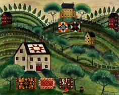 MAMA'S COUNTRY QUILT VILLAGE of YESTERYEAR FOLK ART PRINT