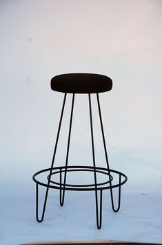 Pair of minimalistic bar stools with brown suede seats 1
