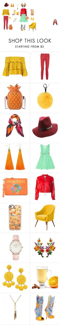 """""""warm colors"""" by alexgasbakk on Polyvore featuring Sans Souci, Frame, Fendi, Matthew Williamson, Moschino, Off-White, Casetify, CLUSE, Humble Chic and Vivienne Westwood"""