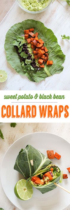 Sweet Potato & Black Bean Collard Wraps these are great for meal prep and packing for healthy lunches. vegan and gluten free http://thefitchen.com/2015/04/20/sweet-potato-black-bean-collard-wraps/