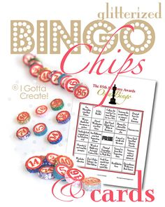 Glitterized Bingo Chips and cards for your Oscar party via I Gotta Create!