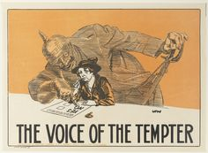 Voice of the tempter / WWI enlistment poster from the collection of the State Library of NSW. To order an archival print of this image call the Library Shop on 61 2 9273 1611 quoting order number a8560001