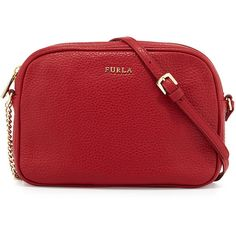 Furla Miky Small Leather Crossbody Bag ($175) ❤ liked on Polyvore featuring bags, handbags, shoulder bags, cabernet, leather cross body purse, red leather purse, leather crossbody, red purse and leather crossbody purse