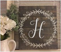 12x14 Custom Monogram Laurel Wreath Wooden Sign by MimaHazel