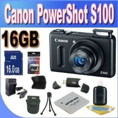 Canon PowerShot S100 12.1 MP Digital Camera with 5x Wide Angle Optical Image Stabilized Zoom (Black) + 16GB SDHC Memory + Extra Extended Life Battery + Ac/Dc Rapid Charger + USB Card Reader + Memory Card Wallet + Deluxe Case + Accessory Saver Bundle! by Canon. $350.69. Kit Includes! 1- Canon PowerShot S100 w/ All Supplied Accessories 1- 16GB SDHC Memory Card (Don't Miss a Memory!) 1- Extended Life Battery (Great For Vacation!)  1- Ac/Dc Rapid Battery Charger (Great For Vacatio...