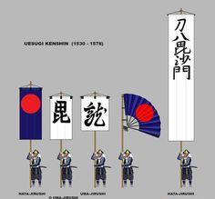 UESUGI KENSHIN battle standards.  Heraldry.