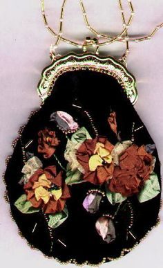 Victorian:  #Victorian silk ribbon embroidery purse.