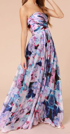 Bariano Special Effects Purple Floral Print Maxi Dress #dress #floral