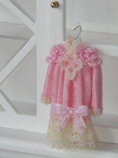 Dollhouse Tiny girl dress.  Ready to hang. 1.12 scale.