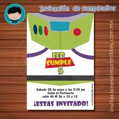 Invitación de cumpleaños para imprimir inspirada en Buzz Lightyear de Toy Story