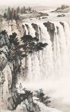 Browse a large selection of original Chinese & Japanese brushes, Rice paper & supplies for Asian Brush painting, Sumi-e, Calligraphy & Seal Carving Asian Landscape, Chinese Landscape Painting, Japanese Landscape, Landscape Art, Landscape Paintings, Japan Painting, China Painting, Waterfall Paintings, Tinta China