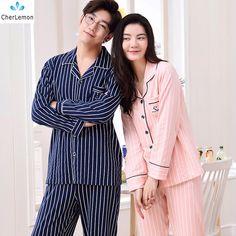 7903017944 CherLemon Couples Cotton Pajama Set Women Autumn Striped Leisure Pyjamas  Homewear Soft Comfortable Mens Long Sleeve