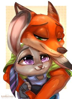 =Zootopia= Nick x Judy by LeoKatana on @DeviantArt