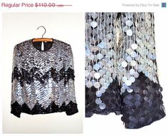 1/2 PRICE CHEVRON Sequined Top // Big Sequin Blouse // by braxae
