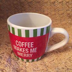 Coffee makes me merry White Ceramic coffee cup mug, 3.5x3.25 inches, 12 oz