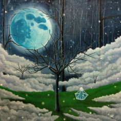 Buy Nightlight, Oil painting by Anthony Lusignan on Artfinder. Discover thousands of other original paintings, prints, sculptures and photography from independent artists. Nature Paintings, Beautiful Paintings, Oil Painting On Canvas, Canvas Art, Original Paintings, Original Art, Moon Art, Surreal Art, Art Day