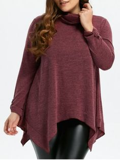 GET $50 NOW | Join RoseGal: Get YOUR $50 NOW!http://www.rosegal.com/plus-size-sweaters-cardigans/turtleneck-asymmetric-plus-size-sweater-933106.html?seid=7558296rg933106