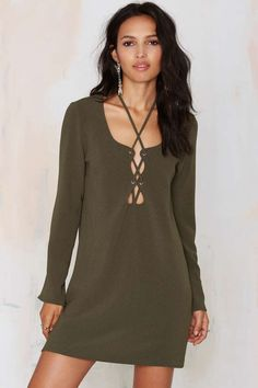 lace-up dress in olive